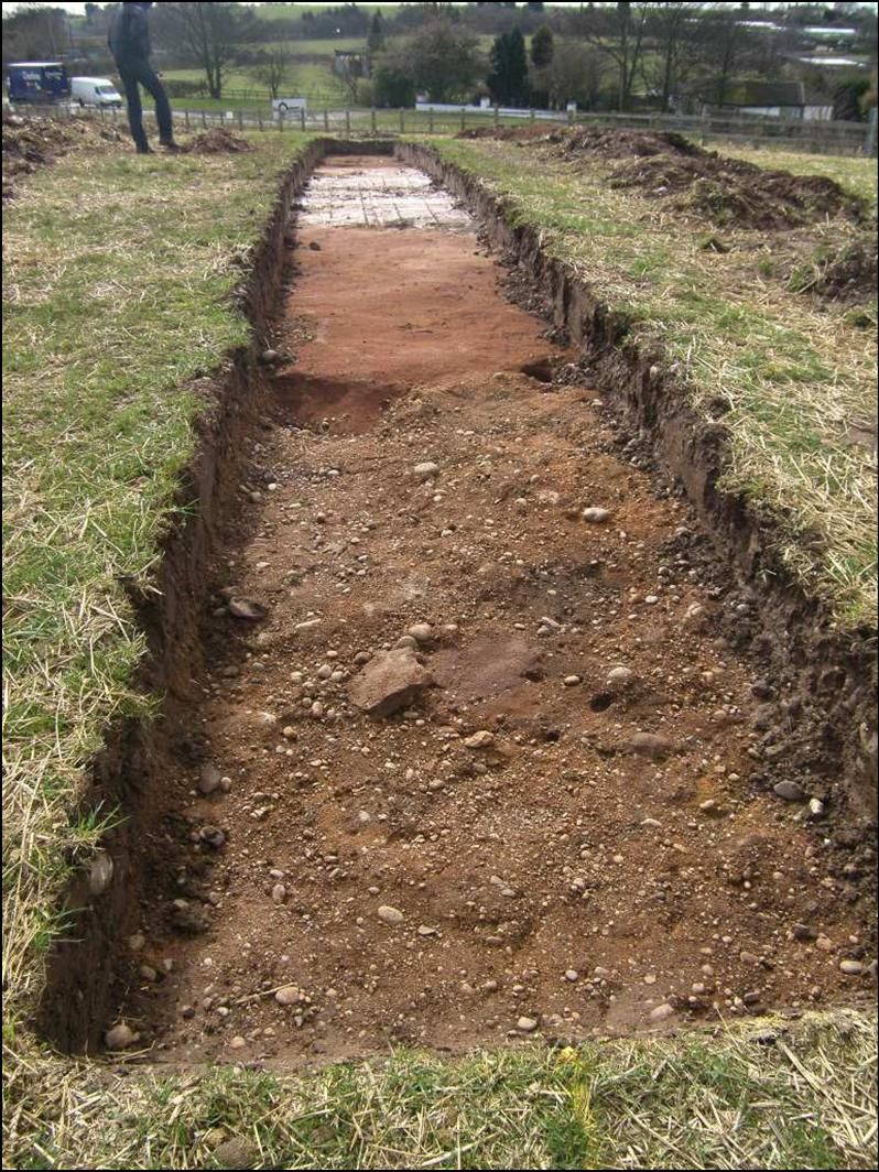 Fig. 4: Trench 2, showing band of pinky-grey clay
